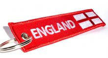 Embroidered 'ENGLAND' Keyrings With English / St. Georges Flag 14cm x 2.7cm - Double Sided